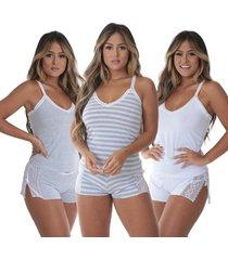 pijama para dormir grã©cia kit 3 - preto - feminino - dafiti