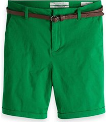 groene korte dames chino met riem maison scotch - 149978