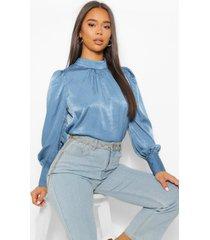 blouse met hoge kraag en lange mouwen, blauw