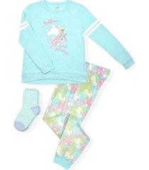 big girls tie dye print minky fleece pajama set, 3 piece