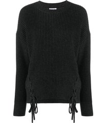 p.a.r.o.s.h. tie-fastening ribbed jumper - grey