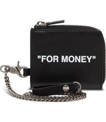 off-white chain wallet in leather with print