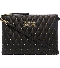 versace jeans couture studded quilted clutch - black