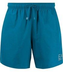 ea7 emporio armani short de natação com logo metálico - azul