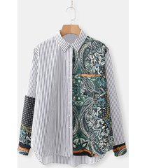 camicia stampata patchwork casual a righe per donna