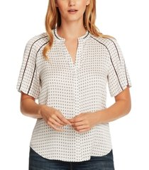vince camuto printed ladder-inset top