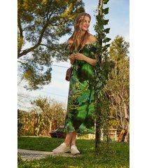 long strapless dress - green - xl