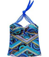 tankini con tiras ajustables estampado azul samia