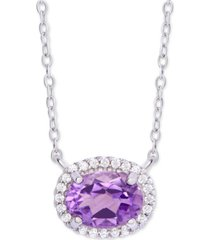 "amethyst (1-3/4 ct. t.w.) & cubic zirconia 18"" pendant necklace in sterling silver"