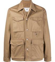 ami paris collared cargo jacket - neutrals