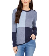charter club colorblocked button-shoulder sweater, created for macy's