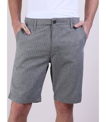 bermuda de sarja masculina reta listrada com bolsos chumbo