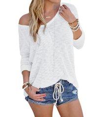 yoins basics white sexy v cuello camiseta de punto de manga larga