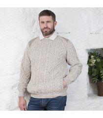 tweed shoulder merino crew neck sweater beige xxl