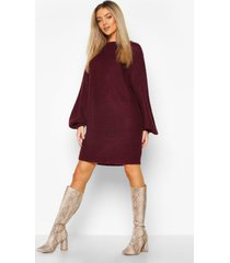 crew neck fisherman rib sweater dress, berry
