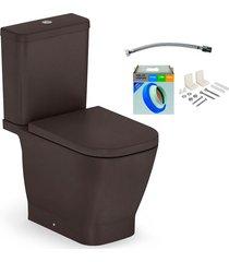 kit bacia com caixa acoplada e assento gap café + conjunto de fixação flexível e anel de vedação - roca - roca