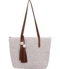 donna paglia spiaggia estiva borsa borsa tassel grande capacità tote borsa spalla piena borsa