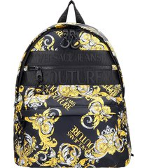 versace jeans couture backpack in black synthetic fibers