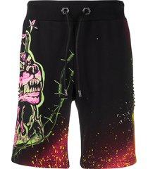 philipp plein dog print studded track shorts - black