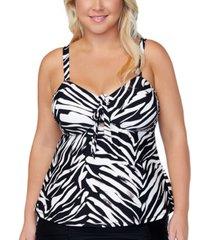 raisins curve trendy plus size meru printed zanzibar tankini top women's swimsuit