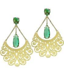 brinco kumbayã¡ longo arabesco 2 gotas  semijoia banho de ouro 18k cristal verde esmeralda - verde - feminino - dafiti