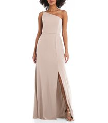 women's after six one-shoulder crepe trumpet gown, size 20 - pink