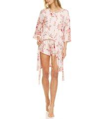 flora by flora nikrooz lauren wrap robe, cami & tap shorts 3pc travel pajama set