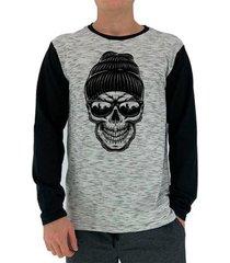 camiseta manga longa mxd conceito caveira de gorro moletinho masculina