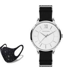 reloj silver black  fashion mask con cristales poloexchange