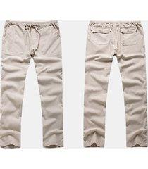 uomo causl pantaloni in cotone-lino traspirabile con coulisse di stile cinese