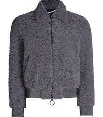 grey shearling bomber jacket