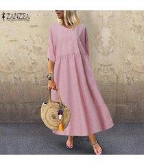 zanzea las mujeres más del tamaño de manga corta del cuello de o playa del vestido de los vestidos de rayas flojas de las señoras -rojo
