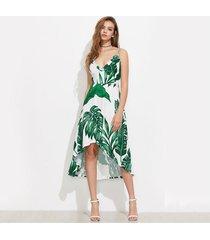 green palm leaf banana leaf print summer beach dress women elegant dresses