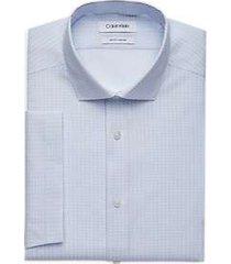 calvin klein blue topaz diamond dot slim fit short sleeve dress shirt