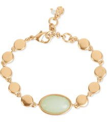 lucky brand gold-tone disc & dyed jade oval flex bracelet