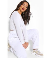crew neck ruched side long sleeved top, ivory