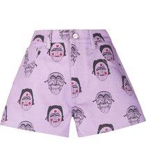 kirin mask print denim shorts - purple