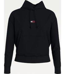 tommy hilfiger women's organic cotton tommy center badge hoodie black - m