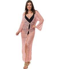 saída de praia pink tricot longa renda botões feminino rosa claro - kanui