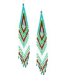 jessie western long beaded earring - blue
