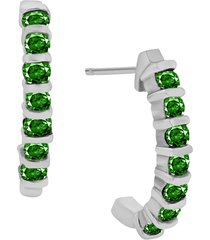 0.25 ctw round emerald 10k white gold over 925 silver new style stud earrings