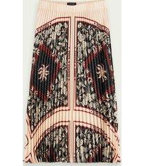 scotch & soda branded print pleated midi skirt