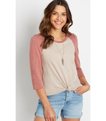 maurices womens 24/7 solid puff sleeve baseball tee brown