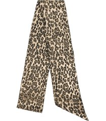 saint laurent leopard print scarf - gold