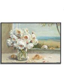 "tangletown fine art coastal roses v.2 by danhui nai fine art giclee print on gallery wrap canvas, 32"" x 22"""