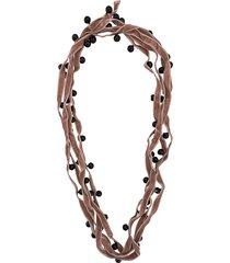 ann demeulemeester velvet beaded necklace - pink