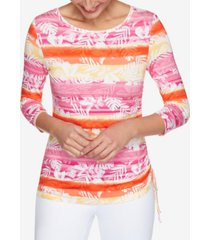 ruby rd. plus size knit stripe ruch top