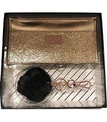nanette lepore flat card wallet & pom key chain gift set, rose gold