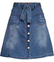 almacr denim skirt knälång kjol blå cream