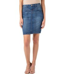 women's liverpool denim skirt, size 12 - blue